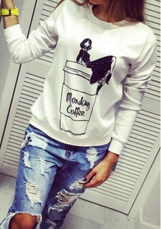 Cartoon Printed Crew Neck Sweatshirt