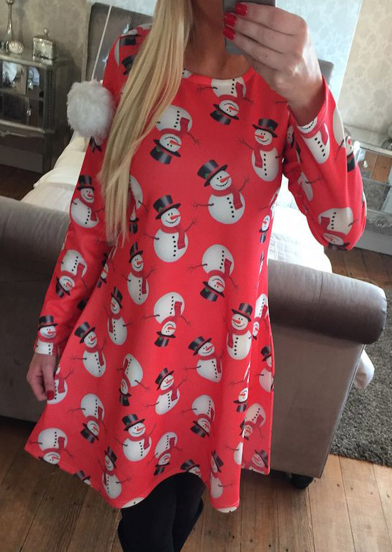 Christmas Snowman Pattern Printed Long Sleeve Dress фото