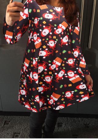 Christmas Santa Gift Printed Long Sleeve Swing Dress Christmas