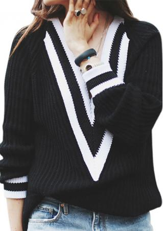 Striped Knitted Deep V-Neck Sweater