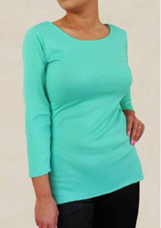 Solid Back Buttons O-Neck Bodycon T-Shirt