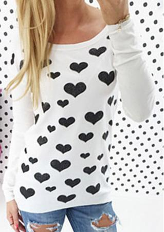 Back Zip Hearts O-Neck Casual T-Shirt