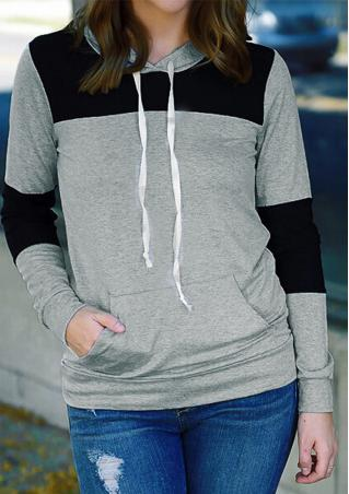 Solid Splicing Casual Long Sleeve Hoodie