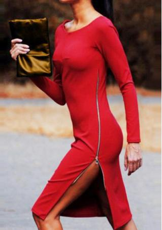 Solid Zip Slit Long Sleeve Bodycon Dress
