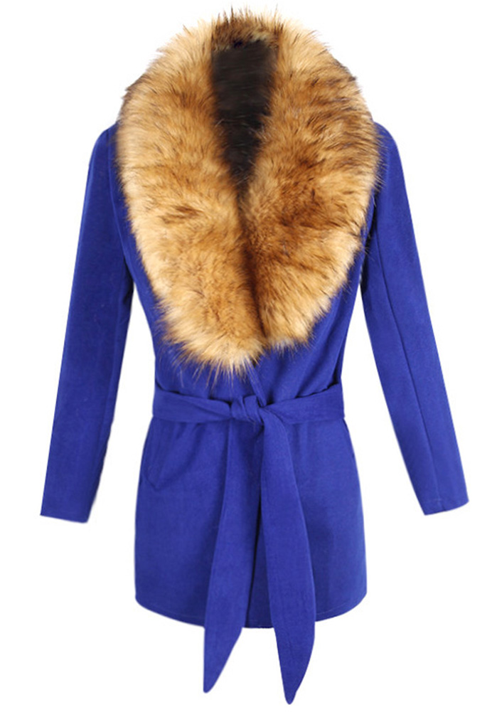 Image of Faux Fur Belt Long Sleeve Overcoat