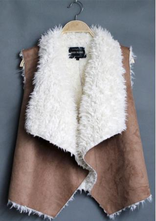 Fur Suede Irregular Sleeveless Jacket