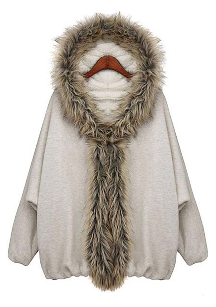 Image of Faux Fur Hooded Batwing Coat