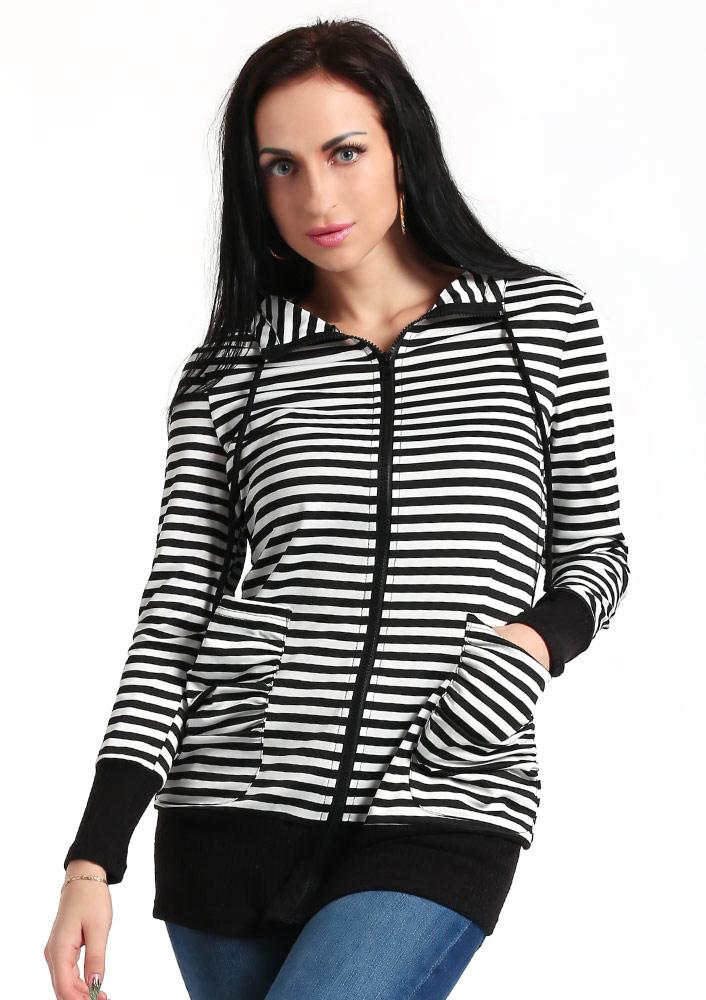 Jachetă de damă, fashion, cu dungi, mâneci lungi, fermoar și buzunare frontale