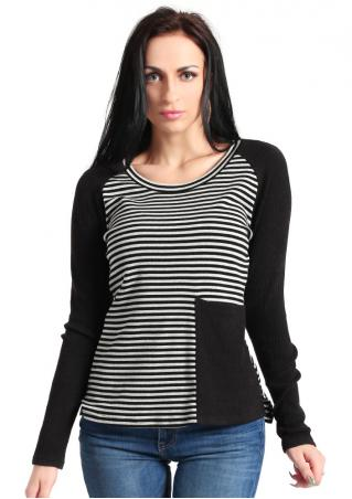 Striped Splicing O-Neck T-Shirt