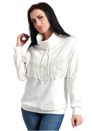 Solid Tassel Turtleneck Jumper