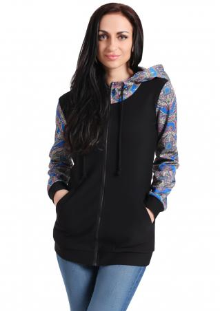 Hooded Floral Splicing Jumper