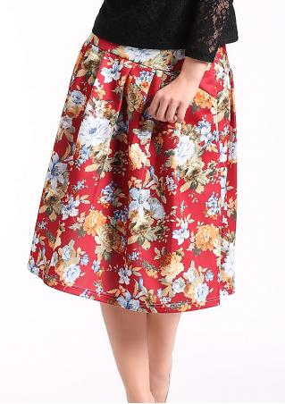 Floral Printed Ruffled Skirt Floral