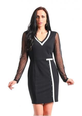 Splicing Button Bodycon Mini Dress