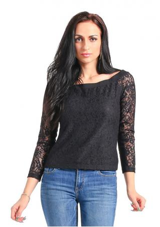 Solid Lace Long Sleeve Blouse Solid
