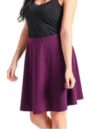 Solid Casual A-Line Mini Skirt Solid