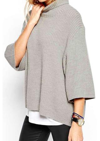 Solid Turtleneck Wide Sleeve Casual Sweater