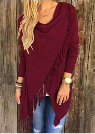 Solid Color Tassel  Irregular Fringe Shawl