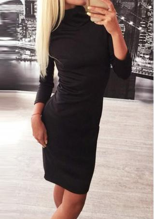 Solid Turtleneck Bodycon Mini Dress