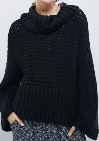 Solid Heaps Collar Wide Sleeve Casual Sweater