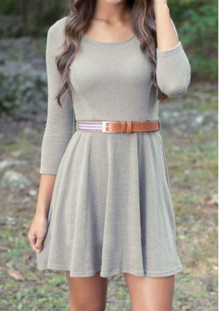 Solid Pleated  Mini Dress Without Belt
