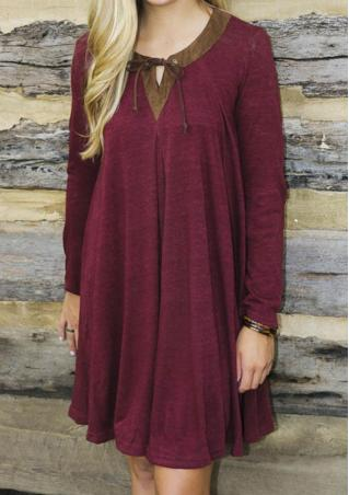 Solid Splicing Casual Loose Dress