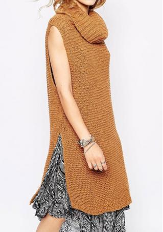 Heaps Collar Slit Sleeveless Long Sweater