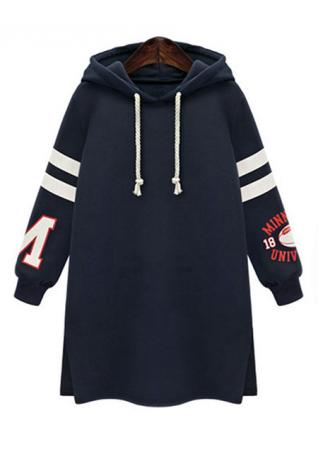Letter Striped Sleeve Long Hoodie