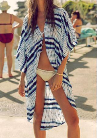 Striped Chiffon Casual Beach Kimono