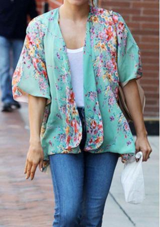 Printed Chiffon Casual Cardigan Kimono