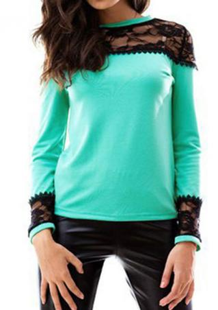 Lace Splicing Casual Long Sleeve T-Shirt