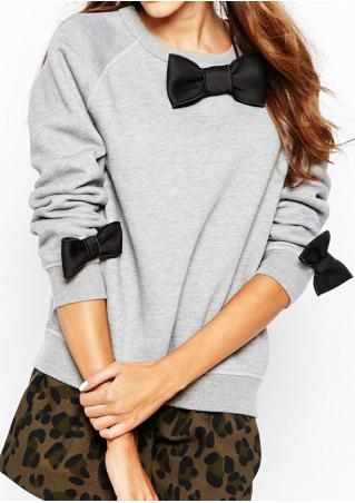 Bowknot Casual Long Sleeve Sweatshirt