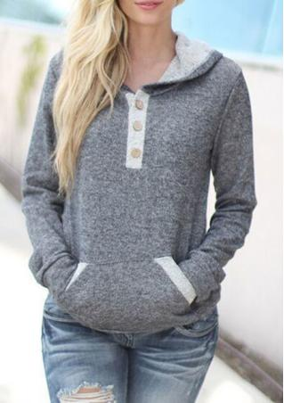 Pocket Button Casual Long Sleeve Hoodie