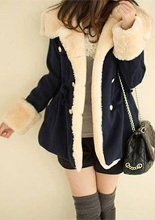 Fur Button Fashion Coat With Belt Fur