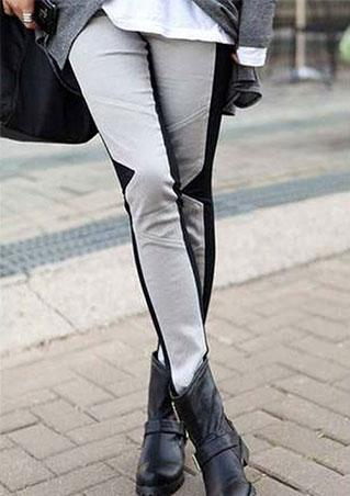 Splicing Slim Stretchy Casual Leggings
