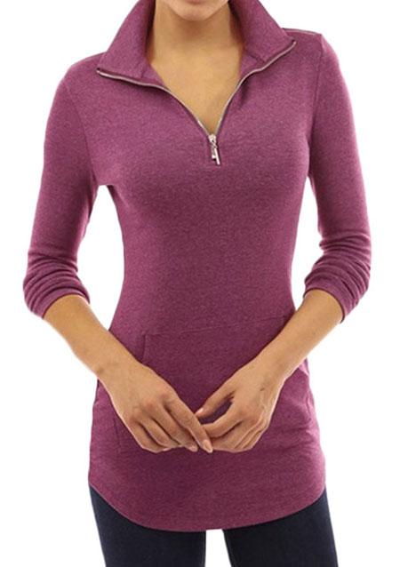 Pulover de damă, fashion, slim fit, cu mâneci lungi și fermoar frontal