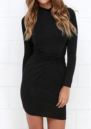 Solid Ruffled Fashion Bodycon Dress