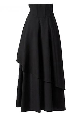 Solid Cross Bandage Gothic Maxi Skirt