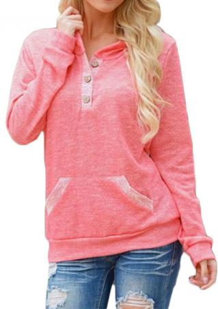 Pocket Button Casual Long Sleeve Hoodie Pocket