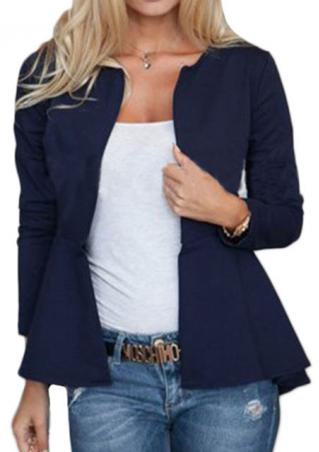 Solid Ruffled Irregular Casual Jacket