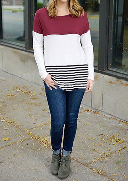 Bluză de damă, fashion, cu mâneci lungi, guler rotund și inserții din dantelă