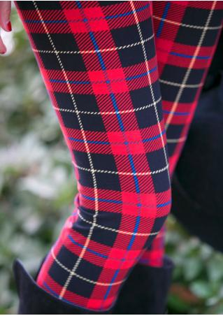 One Size Plaid Skinny Casual Leggings
