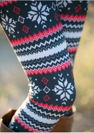 Christmas Snowflake Printed Stretchy Leggings