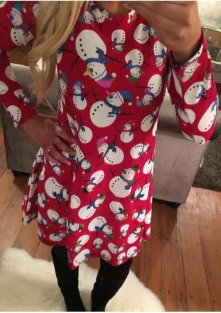 Christmas Foil Sparkle Snowman Printed Dress Christmas
