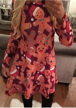 Christmas Gingerbread Printed Long Sleeve Swing Dress Christmas