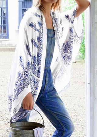 Printed Irregular Casual Long Sleeve Kimono