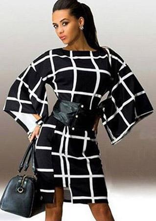 Rochie scurtă, fashion, slim fit, în carouri, cu mâneci lungi evazate și curea talie