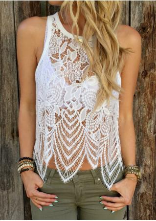 Solid Lace Hollow Out Fashion Tank