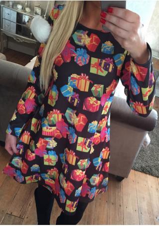 Christmas Gift Printed Long Sleeve Swing Dress Christmas