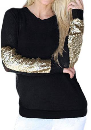 Sequined Splicing Casual  Pullover Sweater