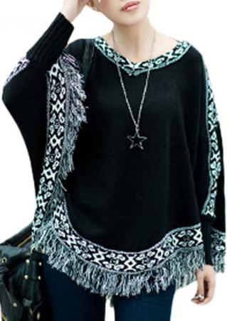 Tassels Knitted Batwing Casual Sweater